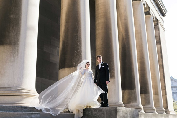 bride groom standing church steps catholic roman chapel veil pillars pittsburgh