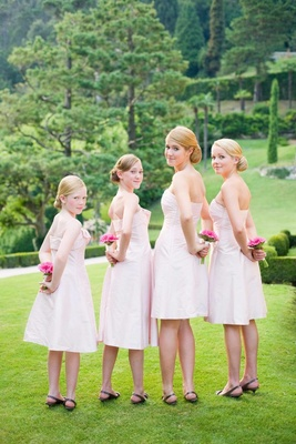 Light pink strapless junior bridesmaid dresses