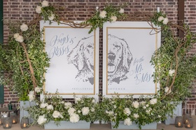 "diptych of bride and groom's dog with wedding hashtag and ""hugs and kisses for the mr. & mrs."""