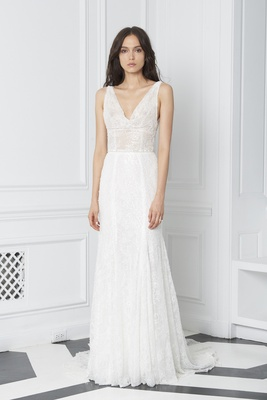 Blush by Monique Lhuillier Fall 2018 embellished lace sleeveless cowl neck sheath gown low back