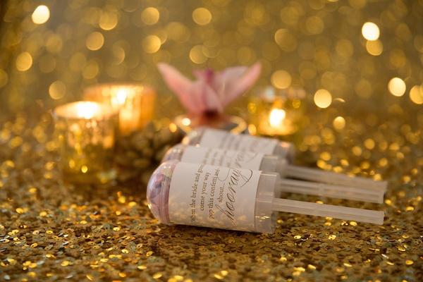 Pink confetti in clear confetti bomb with cute label