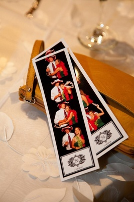 Picture strip with couple's monogram and wedding date