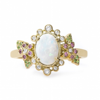 Claire Pettibone x Trumpet & Horn Beauty engagement ring with cabochon