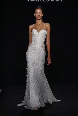 Mark Zunino for Kleinfeld 2016  strapless flower applique wedding dress