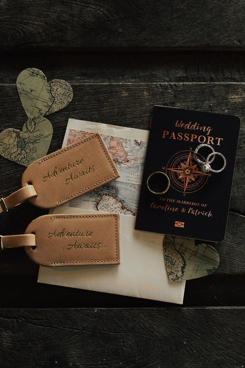 wedding passport save the date for travel-themed wedding, along with leather luggage tags