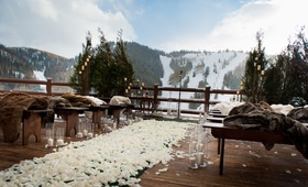 Park City lodge venue with view of ski slopes