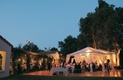 Outdoor dance floor and dinner tents