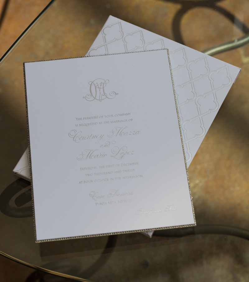 Courtney Mazza and Mario Lopez's wedding invites