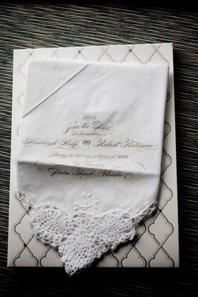 Save the date on lace edge hankie in gold script