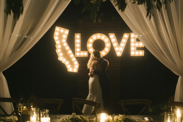 light display at wedding, shape of california lights, love lights