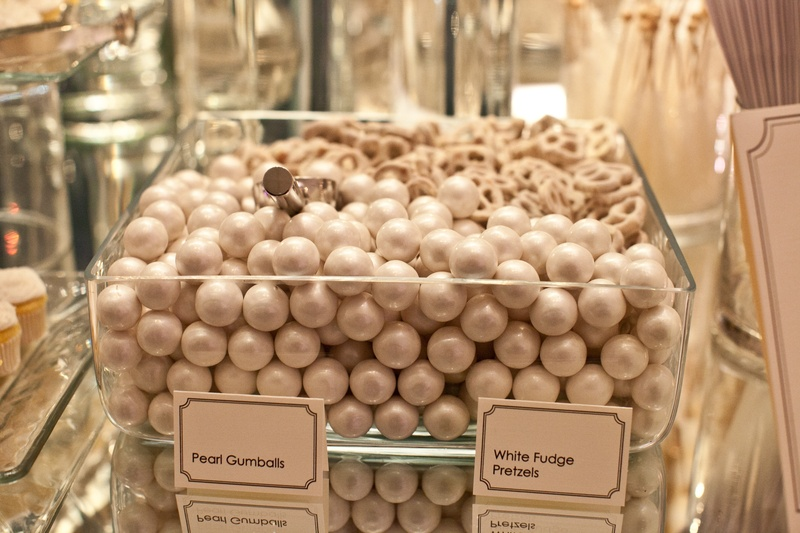 Pearl gum balls and white chocolate pretzels