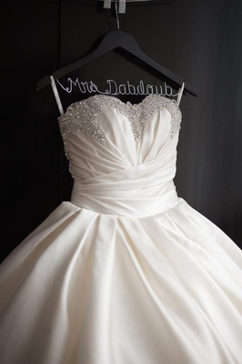Sparkle wedding ball gown on custom Mrs. hanger