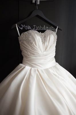Sparkle wedding ball gown on custom Mrs. hanger