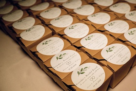 homemade mondel brea favors, edible wedding favors in cardboard boxes with custom stickers