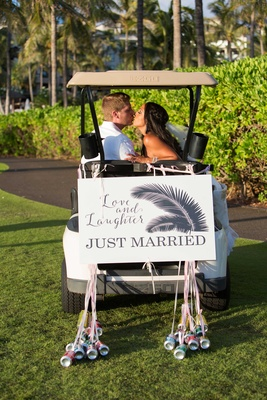 Chudney Ross and Joshua Faulkner getaway golf cart love and laughter, just married, feather, cans