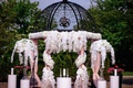 wedding ceremony iron structure gazebo with white orchid flowers and drapery outdoor wedding