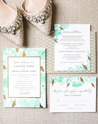 modern invitation suite with gold details and turquoise watercolor painting of plants