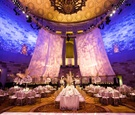 Gotham Hall wedding in new york city gatsby style wedding art deco gold palm leaves white flowers