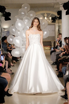 Oleg Cassini Fall 2018 bridal collection strapless mikado ball gown with beading and chapel train