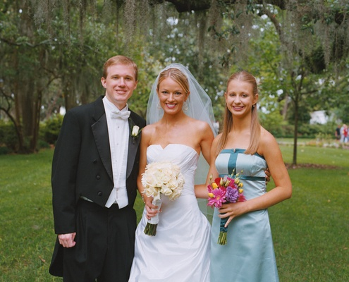 Brooke Anderson with young bridesmaid and groomsman
