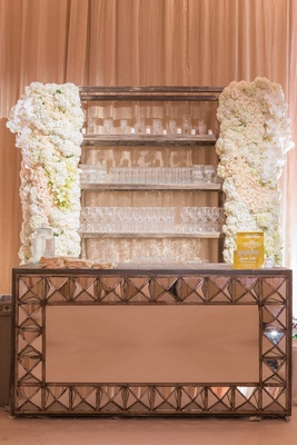 Mirror bar with rock studs and white flower design