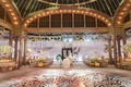 flower print wall in back of reception gold dance floor hanging roses white gold accents new york