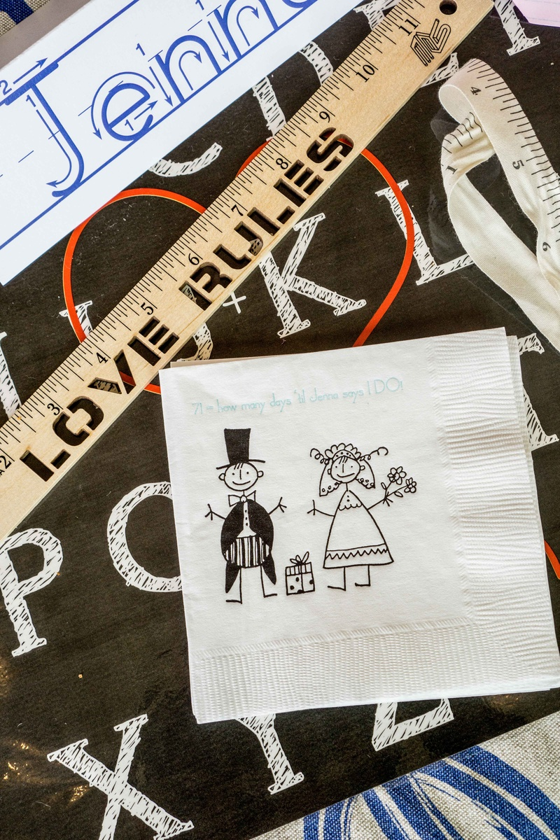 Bridal shower cocktail napkin white with stick figure drawings love rules ruler name tags