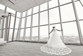 bel aire bridal cathedral veil with lace details throughout, black and white photo