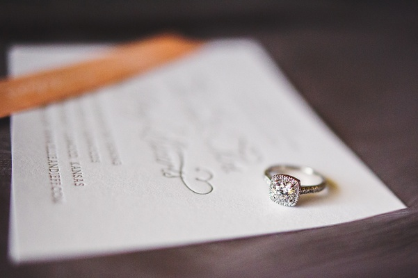 square diamond ring on invitation