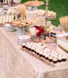 dessert display rose gold metallic linen rustic chic wedding professional event cookies cupcakes
