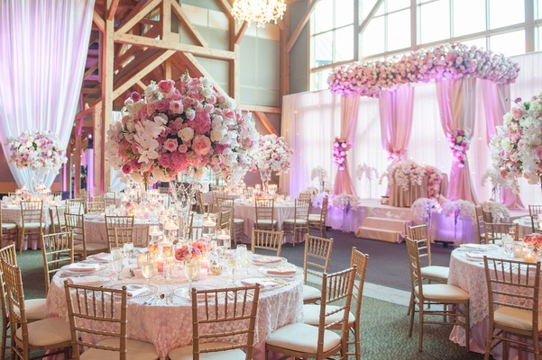 Front Chapel Wedding Decorated With Peach White And Gold Vintage