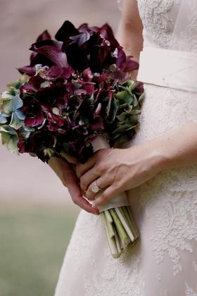 Purple calla lilies and hydrangea flowers