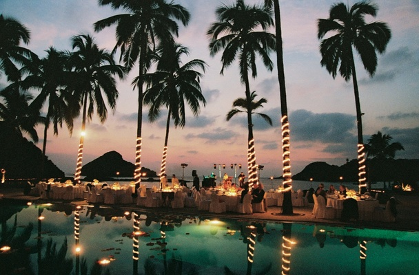 Illuminated palm trees and a live band with view
