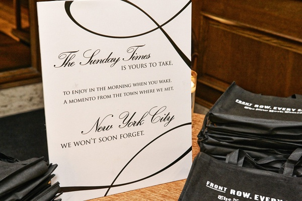 Wedding favor of NYC's The Sunday Times