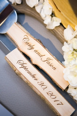 custom wedding cake servers with aspen handles burned with couple's names and wedding date