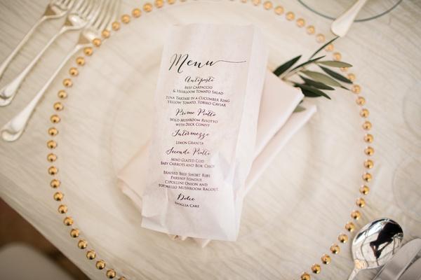 wedding reception tasting menu with italian food, paper bag printed with tasting menu