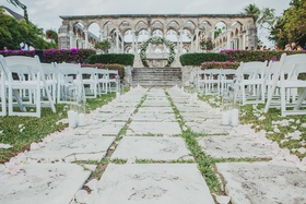 the ocean club, four seasons bahamas wedding ceremony with aisle of stone pathway