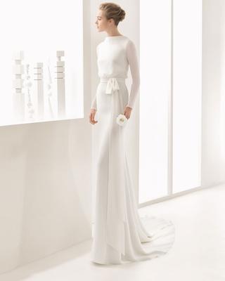 Rosa Clara Bridal Nantes long sleeve high neck wedding dress blouse bodice chiffon wrap tie low back