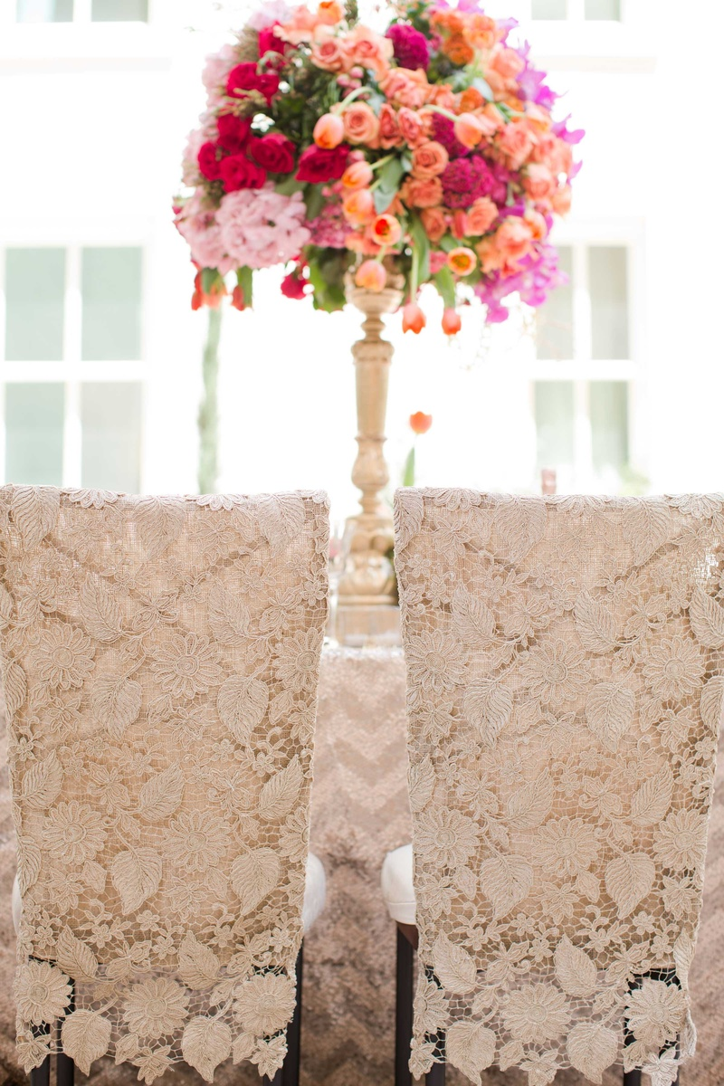 off white lace chair covers linen champagne colored wedding styled shoot reception