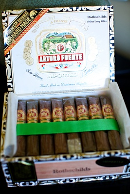 Arturo Fuente Rothschild cigars offered at a wedding