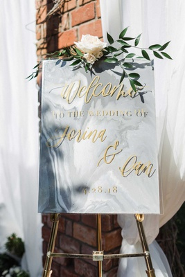 wedding welcome sign grey white marble with gold calligraphy greenery flower gold stand