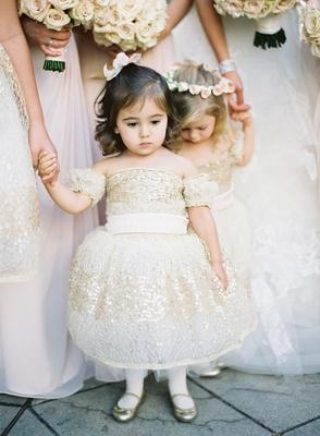 Gold sequin flower girl dress and ballet flats