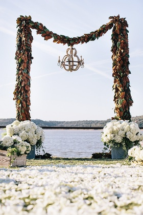 Archway made of magnolia leaf garlands