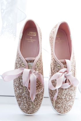wedding reception shoes kate spade new york glitter keds with pink ribbon shoe strings ties comfort