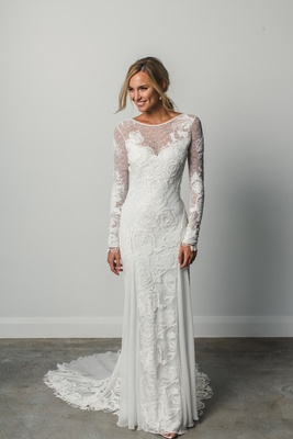 Camille by Grace Loves Lace Elixir, long sleeves open back rose embroidery, open geometric lace