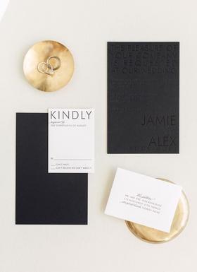 Wedding invitation black and white color palette invite with black stationery and black lettering