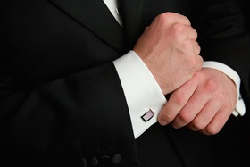 Groom's cufflinks with iridescent pink and silver details