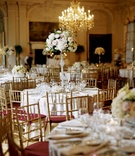 Wedding reception in chandelier ballroom