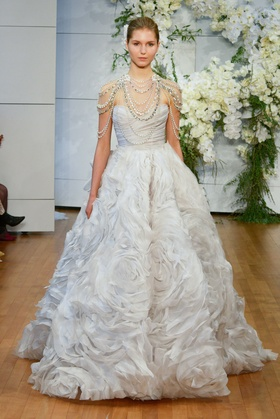 Monique Lhuillier Spring 2018 bridal collection Isabella wedding dress organza sweetheart ball gown