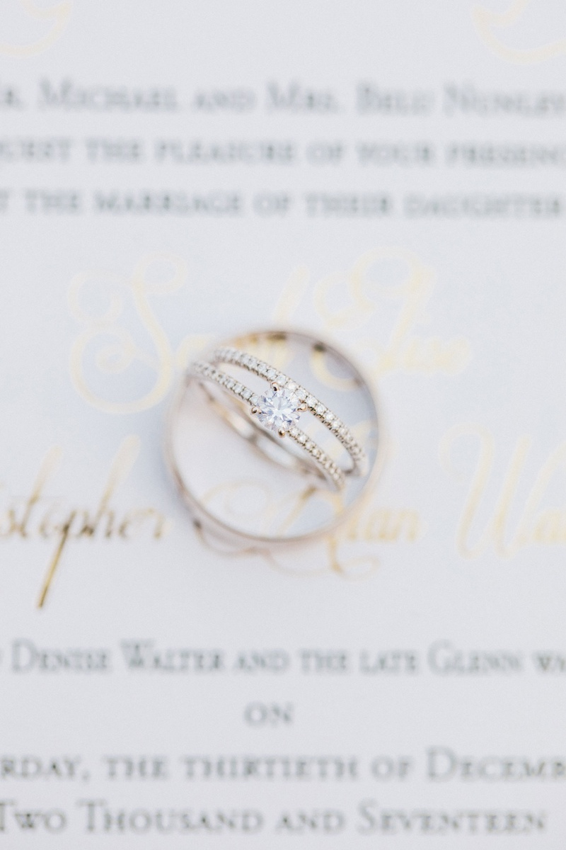 wedding rings on invitation by oda creative yellow gold round diamond engagement ring pave band ring
